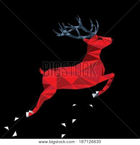 Red deer of triangle shapes on a black background