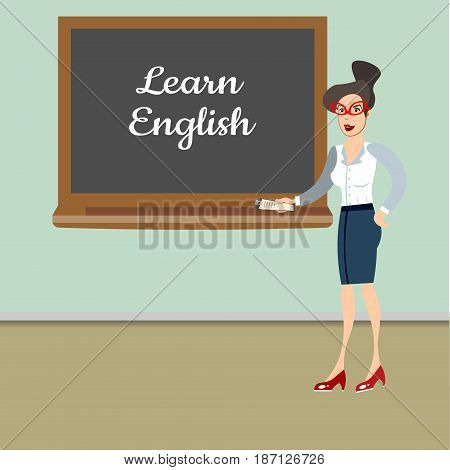 Teacher in front of blackboard teaching student in classroom at school. Vector illustration