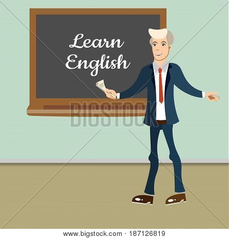 teacher English lesson. Vector illustration. Teacher with blackboard