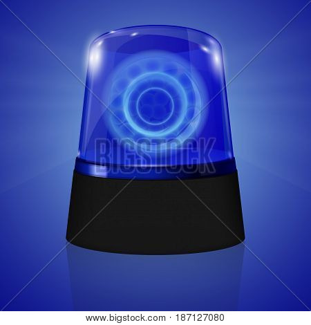 Police Siren flasher. Vector illustration on blue background