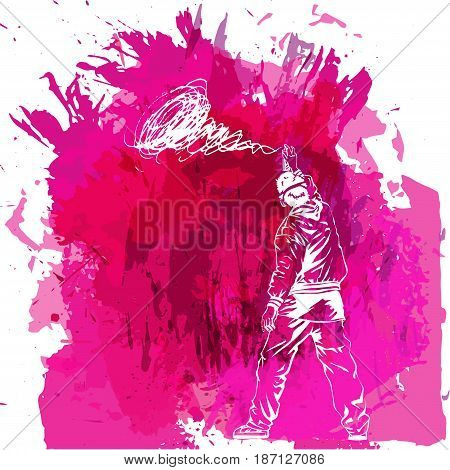 Paint spot with splash in watercolour style. Graffiti guy makes street art on wall. Background for flayer web banner print.