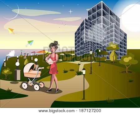 Young mom taking her baby for a stroll through park. Vector illustration
