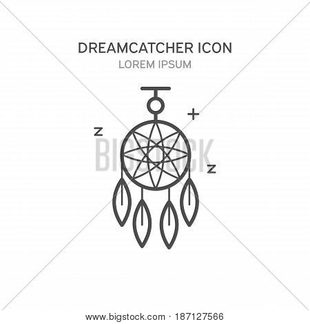 Dreamcatcher Line Style Icon. Vector Illustration