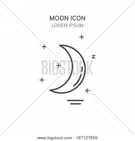 Moon Line Style Icon. Vector Illustration