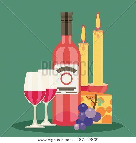 Colored flat design vector illustration wine set