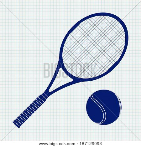 Tennis racket and ball. Vector illustration on Notebook sheet texture background