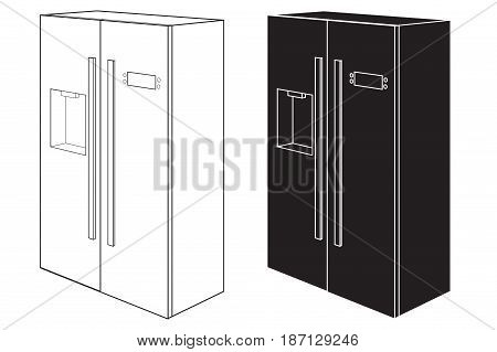 Refrigerator. Two-door. Black and white icon.  Vector illustration isolated on white background