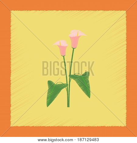 flat shading style illustration of flower calla
