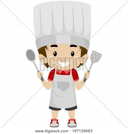 Vector Illustration of a Kid Boy as Chef Holding a Holding Kitchen Utensils