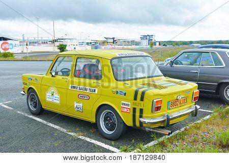 LE MANS, FRANCE - APRIL 30, 2017: Vintage french race touring car Simca