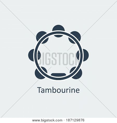 Tambourine icon. Musical symbol. Silhouette vector icon