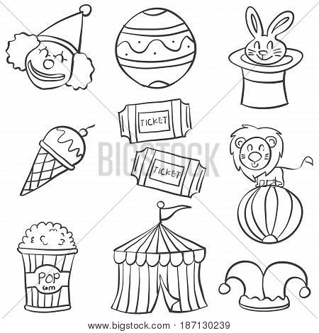 Object circus hand draw doodles vector illustration