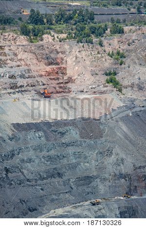 Iron ore opencast mining facility - general view to the pit