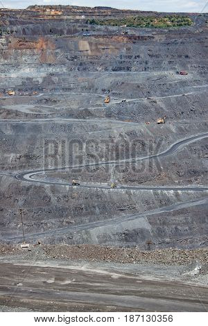 Iron ore mining opencast - view to the surface works