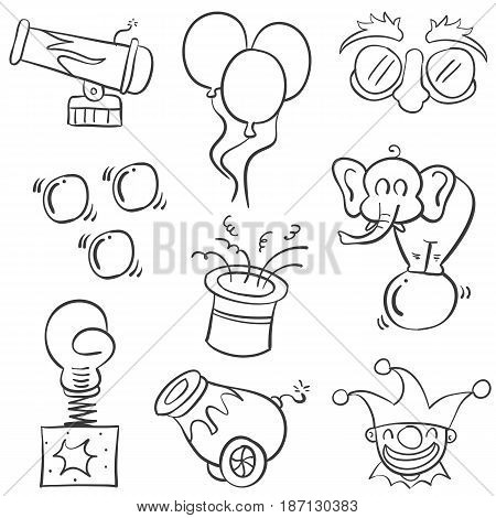 Object element circus of doodles vector illustration