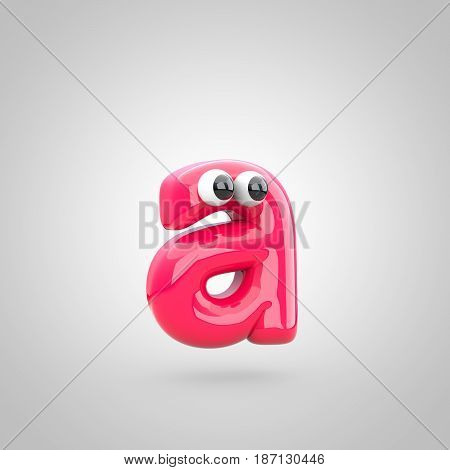 Funny Pink Letter A Lowercase With Eyes