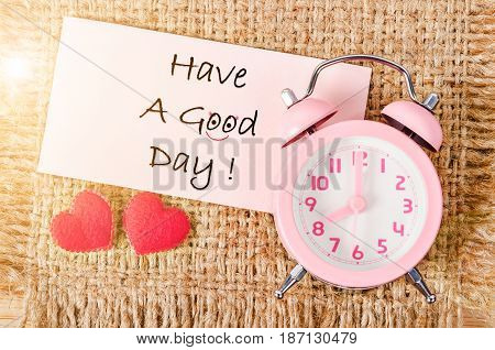 Have a good day card with pink vintage alarm clock.