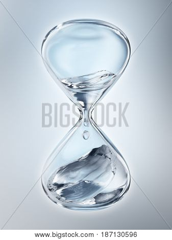 Hourglass with dripping water close-up. Gray background. 3d rendering
