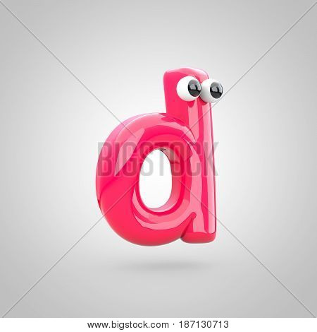 Funny Pink Letter D Lowercase With Eyes