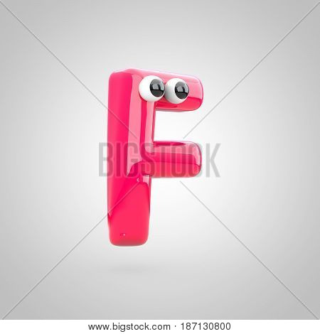 Funny Pink Letter F Uppercase With Eyes