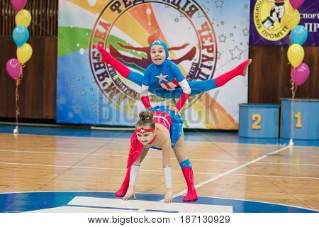 Kamenskoye, Ukraine - March 8, 2017: Championship of the city of Kamenskoye in cheerleading among solos, duets and teams