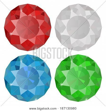 Diamond, Sapphire, Ruby,   Emerald.  Vector illustration isolated on white background