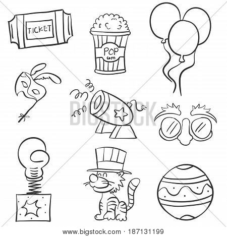 Various element circus of doodles vector illustration