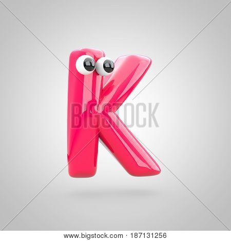 Funny Pink Letter K Uppercase With Eyes
