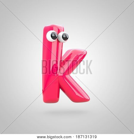 Funny Pink Letter K Lowercase With Eyes