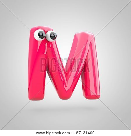 Funny Pink Letter M Uppercase With Eyes