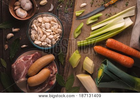 Vegetables and meat for roe deer with pork and beef horizontal