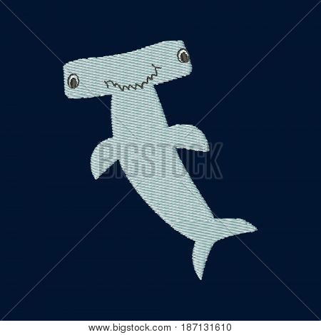 Hammerhead shark patch embroidery, vector illustration of sea animal, cute character of uderwater life, decorative element for baby, children clothes, things.