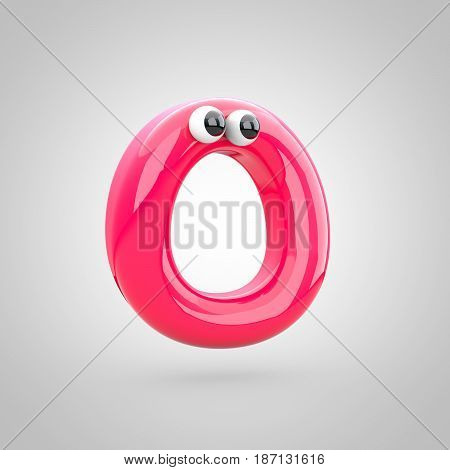 Funny Pink Letter O Uppercase With Eyes