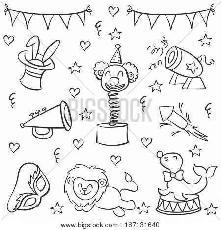 Doodle of circus element hand draw vector art