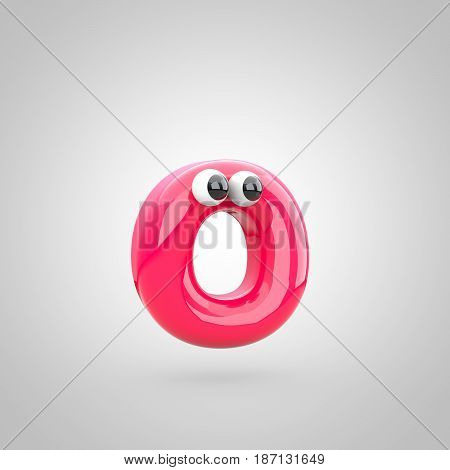 Funny Pink Letter O Lowercase With Eyes
