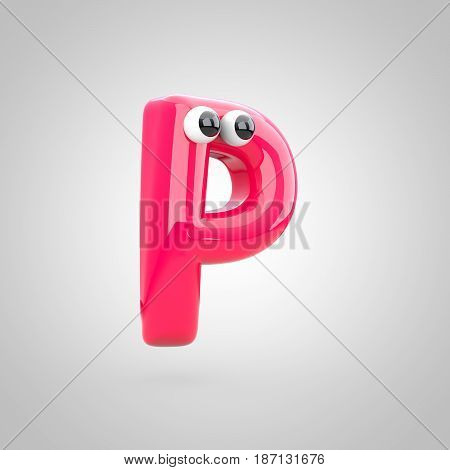 Funny Pink Letter P Uppercase With Eyes