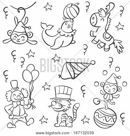 Doodle circus with clown and animal vector art