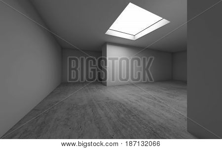 Empty Room Interior With Ceiling Light, 3 D Render