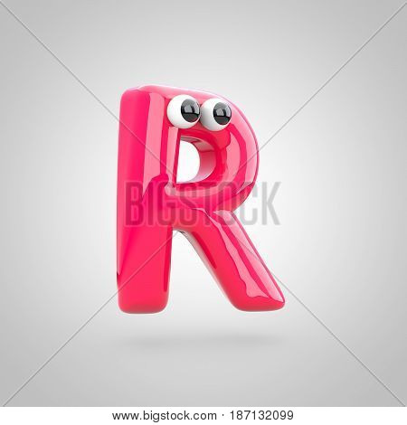 Funny Pink Letter R Uppercase With Eyes