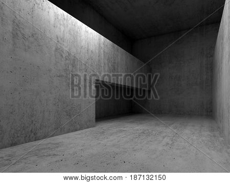 Abstract Empty Concrete Room Interior, 3D Render