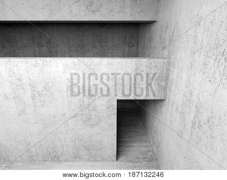 Abstract Empty White Concrete Room Interior 3 D