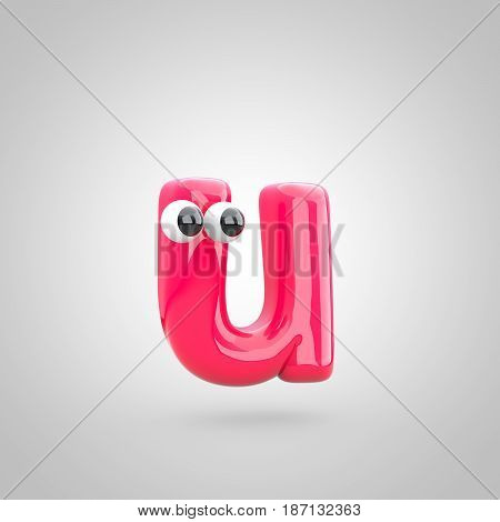 Funny Pink Letter U Lowercase With Eyes