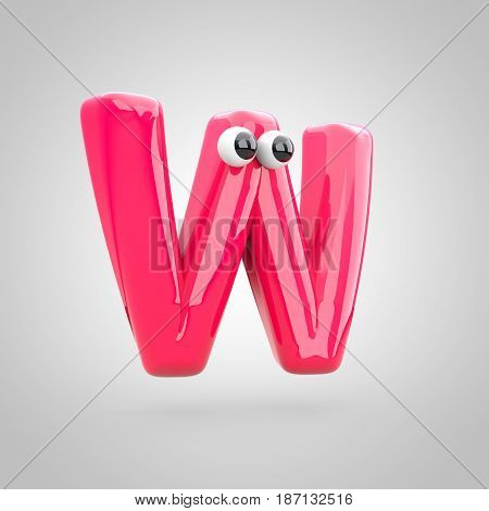 Funny Pink Letter W Uppercase With Eyes