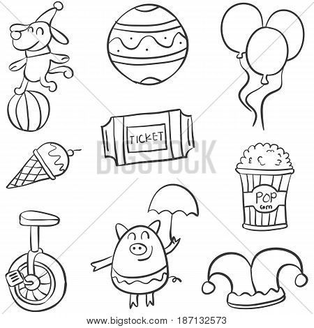 Various circus object of doodle collection vector art