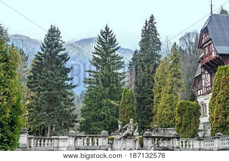 Romania, Sinaia - April 4, 2017: Detail From Garden Of The Peles Castle From Sinaia Romania, Green T