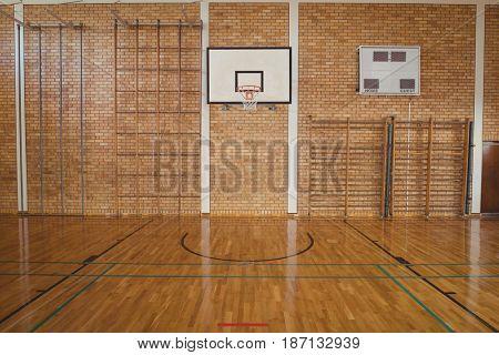 Empty basketball court in high school