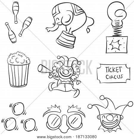 Doodle of element circus various vector illustration