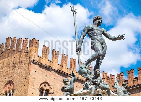 Italy Bologna Del Nettuno square the Neptune statue and the Re Enzo palace in the background