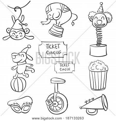 Design element circus of doodles vector illustration