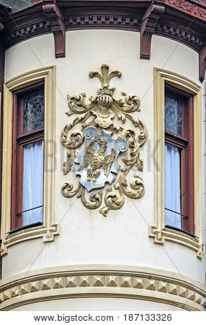 Sinaia, Romania - April 4, 2017: Royal Logo Of The Peles Castle